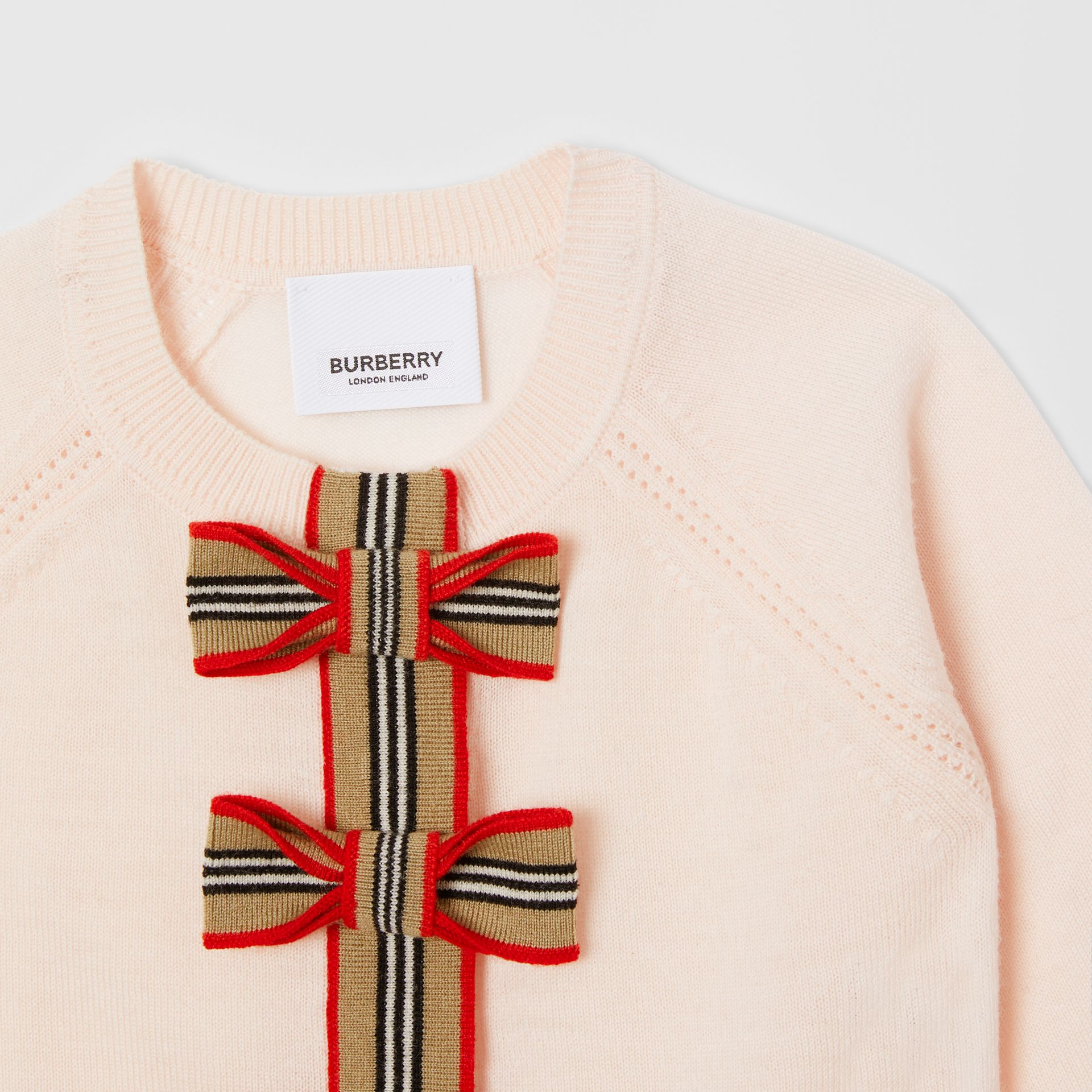 Icon Stripe Trim Merino Wool Two-piece Set in Soft Pink - Children | Burberry United Kingdom - gallery image 7