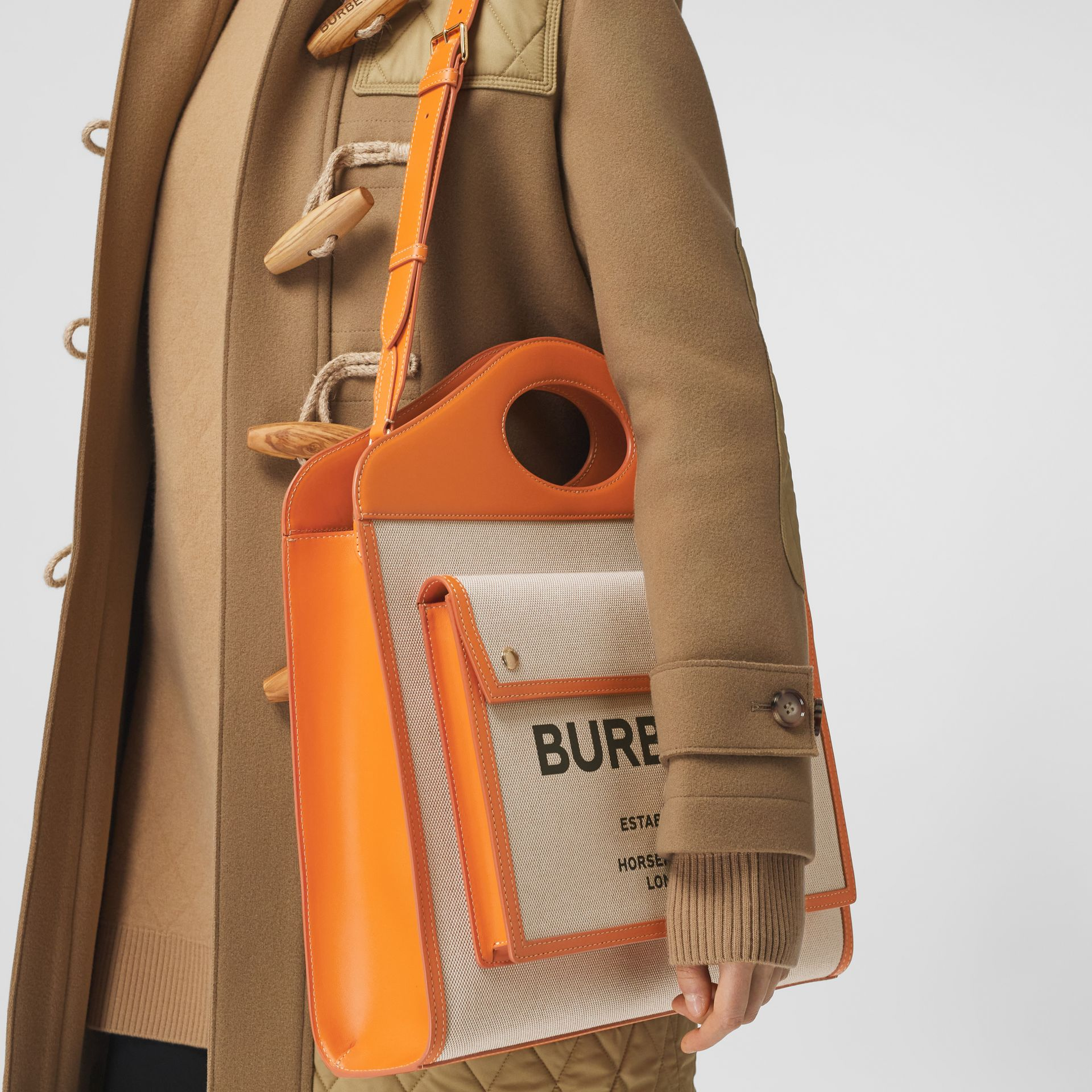 Medium Two-tone Canvas and Leather Pocket Bag - Women | Burberry - gallery image 2