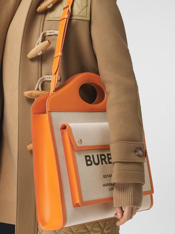 Medium Two-tone Canvas and Leather Pocket Bag - Women | Burberry Australia - cell image 2