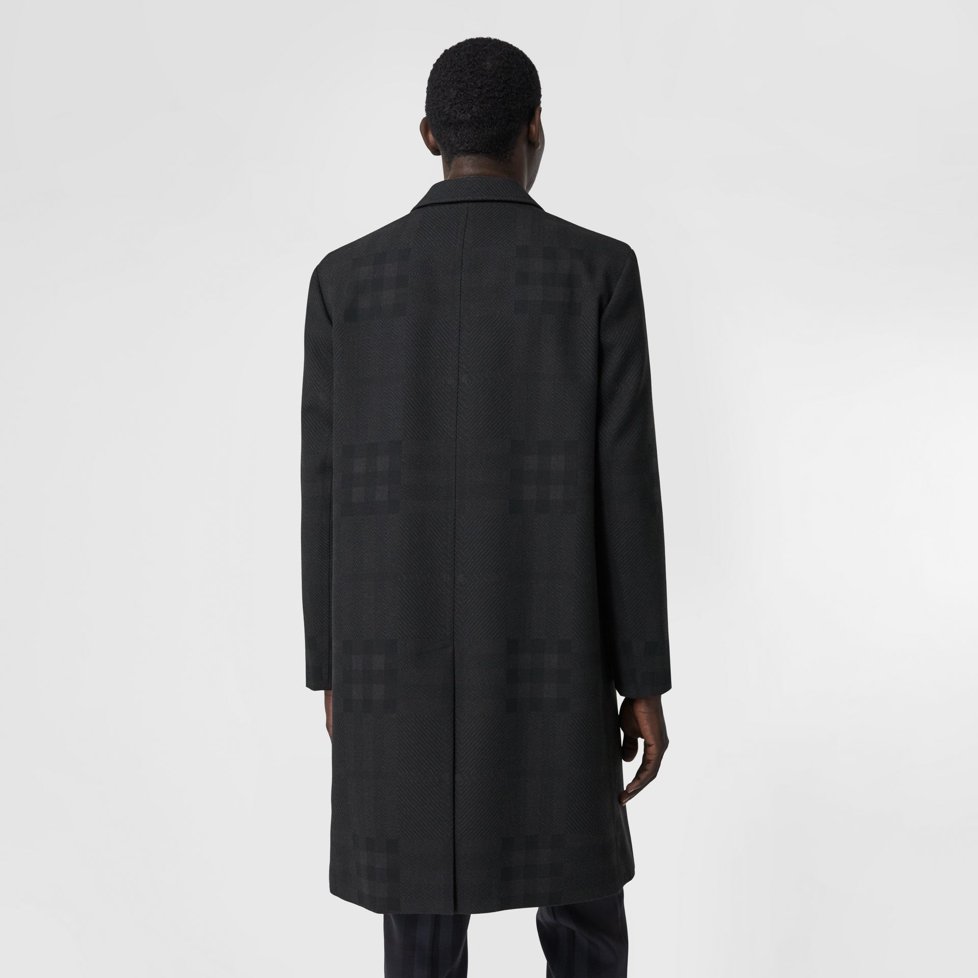 Check Wool Jacquard Tailored Coat in Charcoal Black - Men | Burberry - gallery image 2