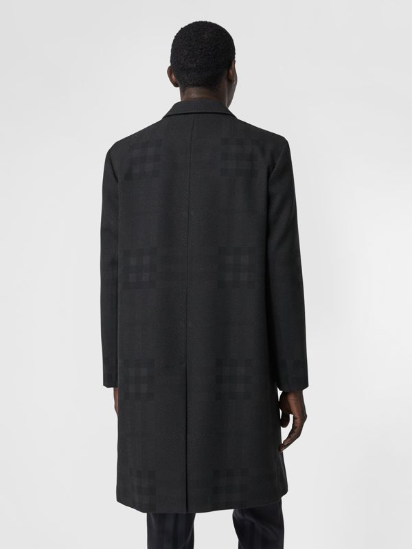 Check Wool Jacquard Tailored Coat in Charcoal Black - Men | Burberry - cell image 2