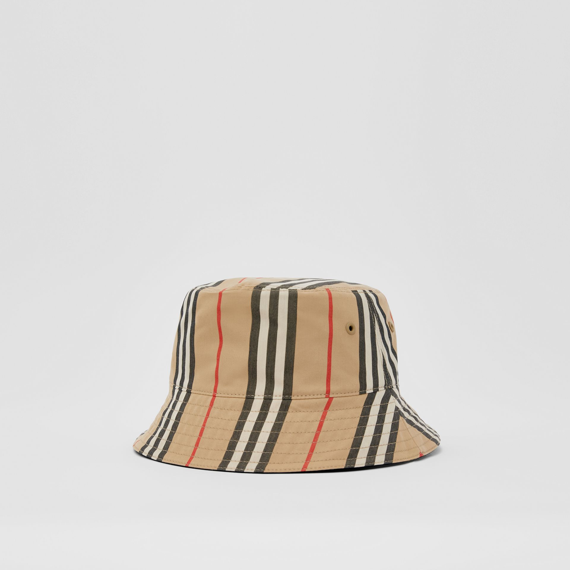 Reversible Icon Stripe Cotton Bucket Hat in Archive Beige | Burberry - gallery image 4