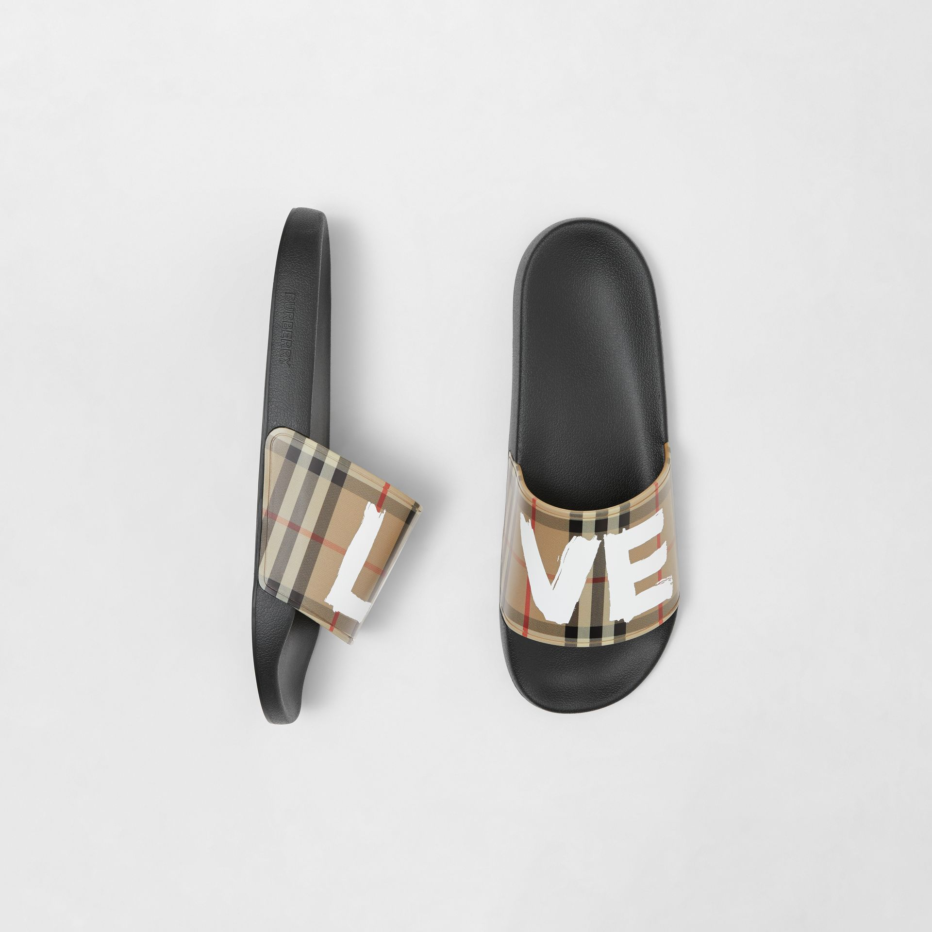 Love Print Vintage Check Slides in Archive Beige - Men | Burberry - gallery image 0