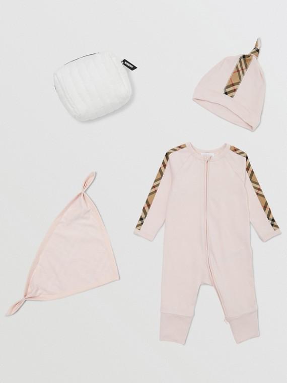 Check Trim Cotton Three-piece Baby Gift Set in Ice Pink