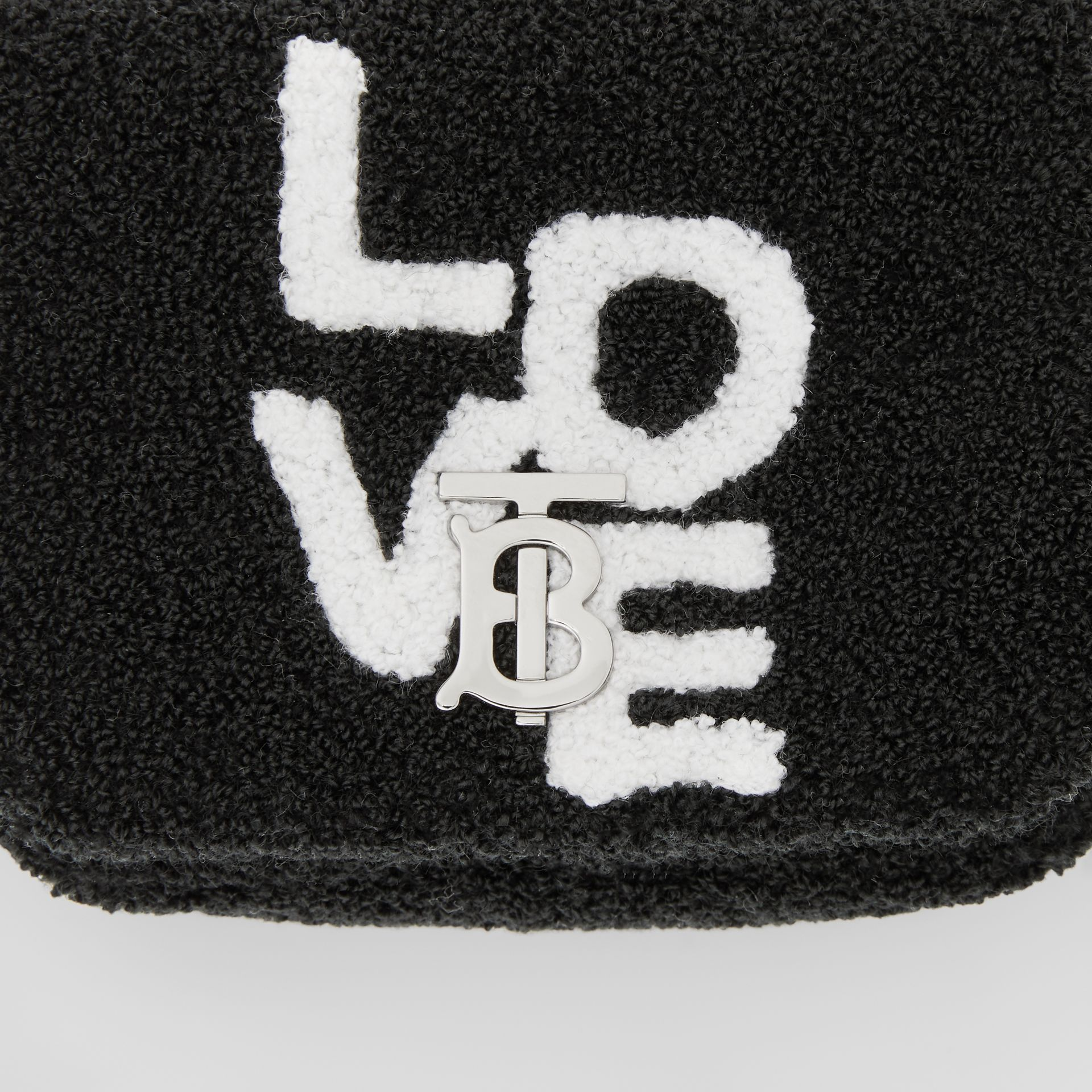 Micro Love Motif Towelling Lola Bag in Black - Women | Burberry - gallery image 1