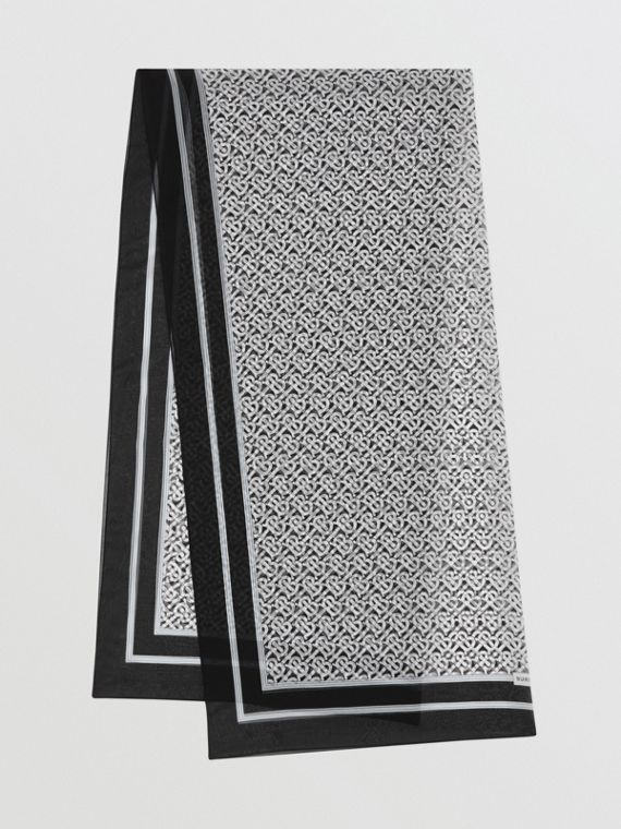 Monogram Print Silk Chiffon Scarf in Monochrome