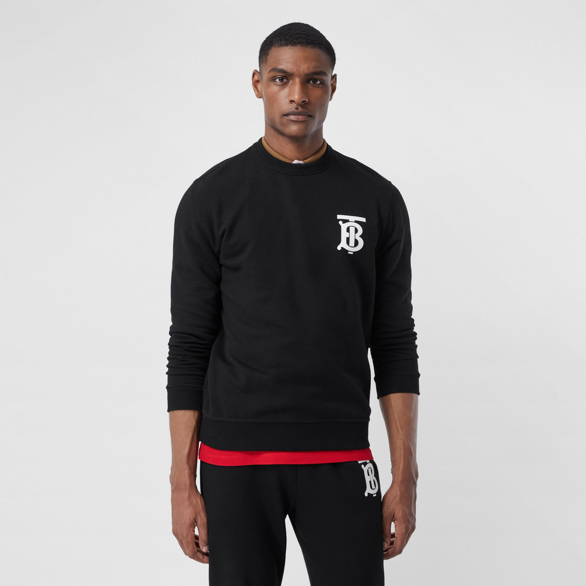 Monogram Motif Cotton Sweatshirt in Black - Men   Burberry - gallery image 5
