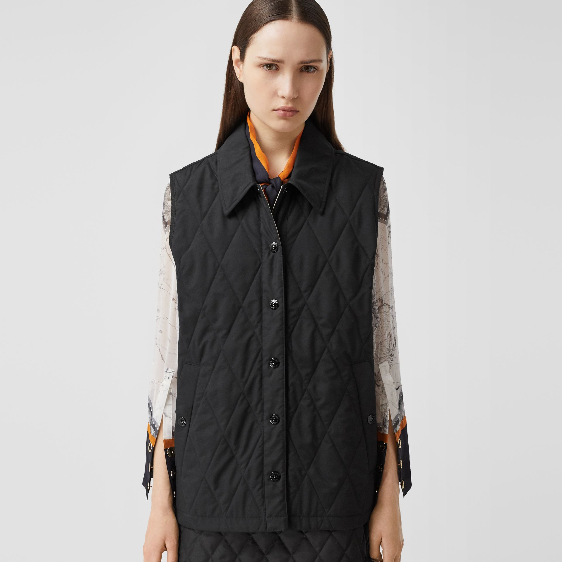 Diamond Quilted Gilet in Black   Burberry United Kingdom - gallery image 7