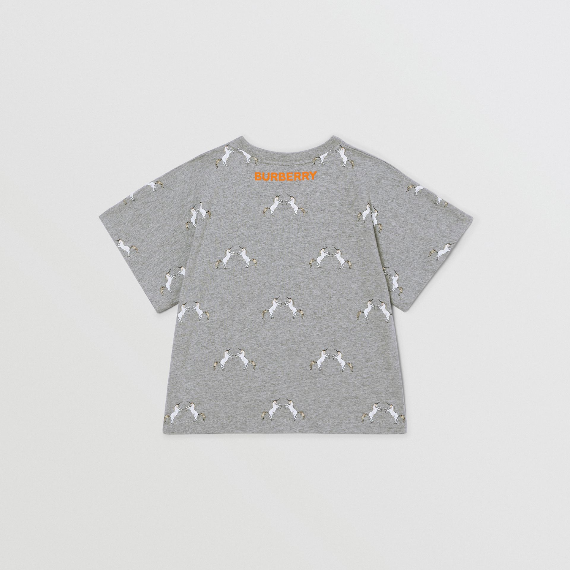 Unicorn Slogan Print Cotton T-shirt in Grey Melange | Burberry United Kingdom - gallery image 3