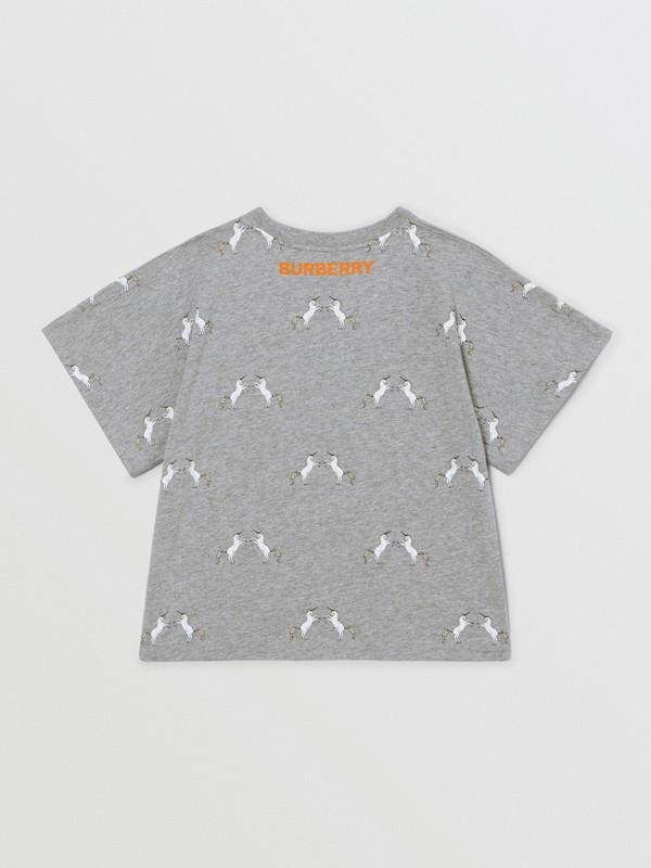 Unicorn Slogan Print Cotton T-shirt in Grey Melange | Burberry United Kingdom - cell image 3