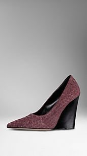 Nubuck Python Wedge Pumps