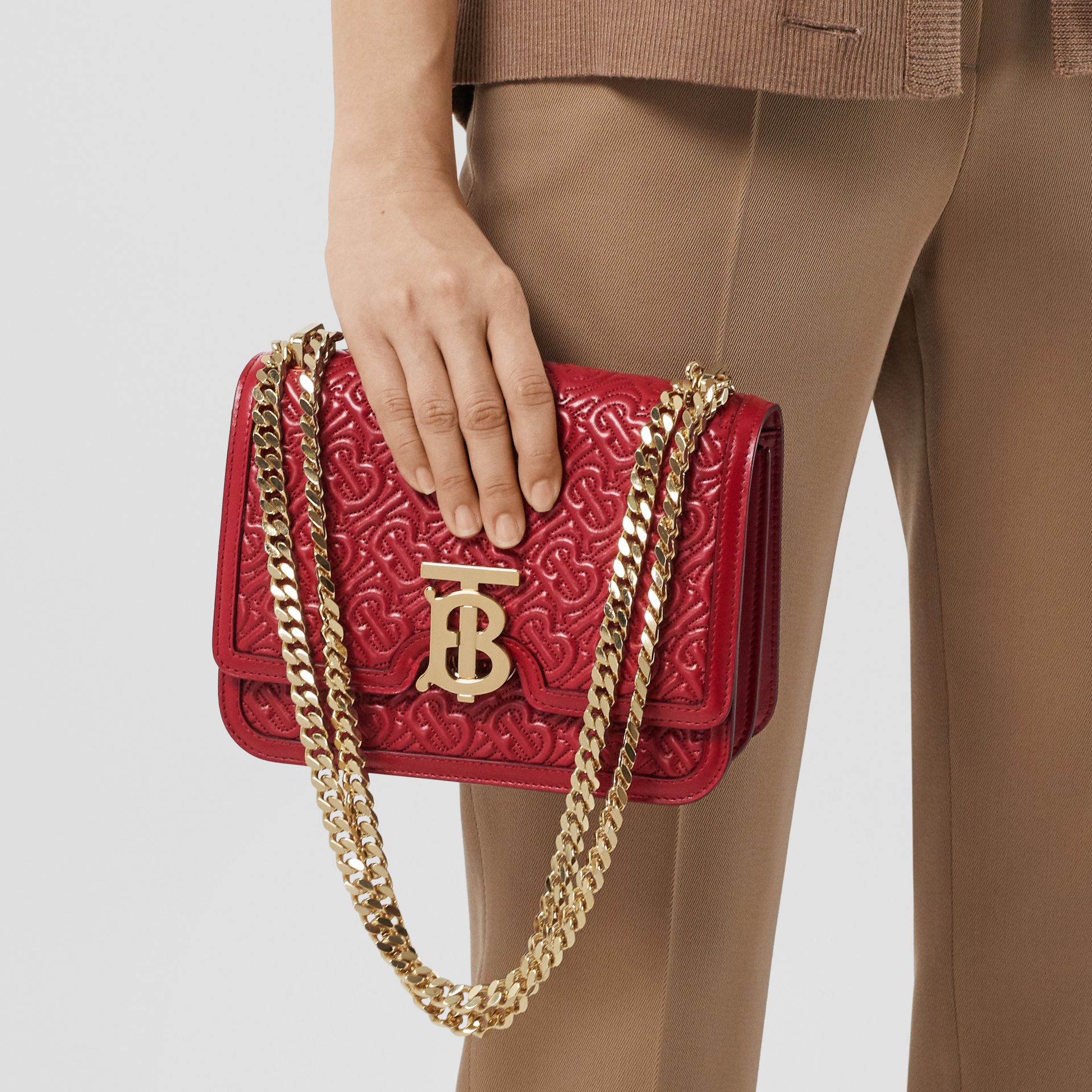 Small Quilted Monogram Lambskin TB Bag in Dark Carmine - Women | Burberry - gallery image 8