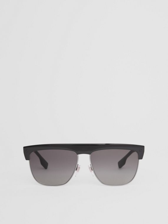Square Frame Sunglasses in Black/beige