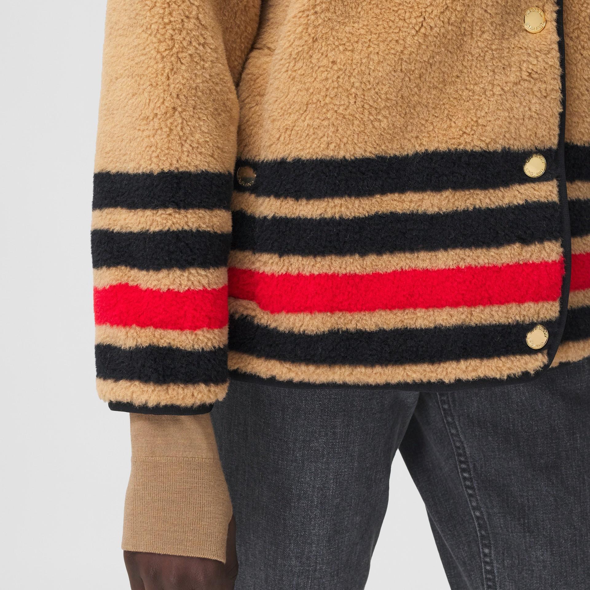 Stripe Intarsia Fleece Jacket in Light Camel - Women | Burberry Canada - gallery image 4