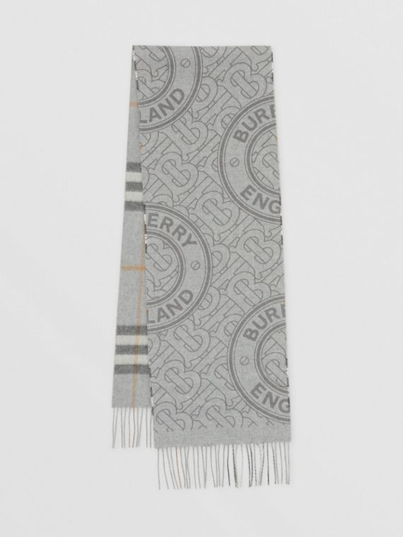 Reversible Check and Monogram Cashmere Scarf in Light Grey