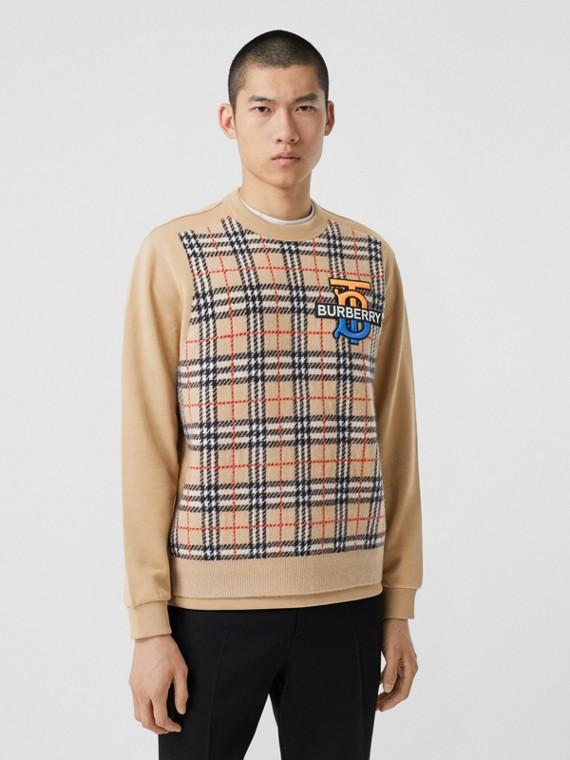 Sweatshirt mit Monogrammmotiv und Kaschmirpanel im Karodesign (Vintage-beige)