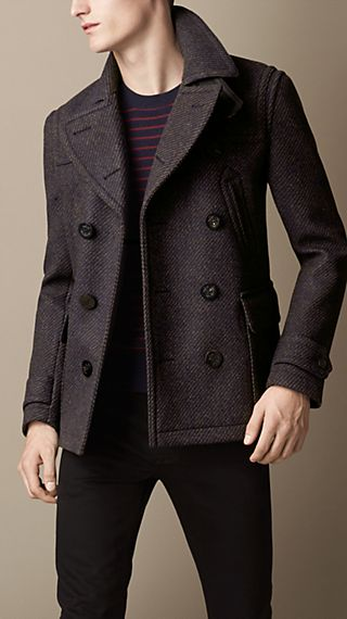 Wool Twill Pea Coat with Leather Undercollar
