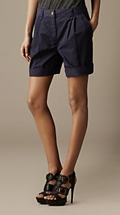 Cotton Twill Pleat Front Shorts