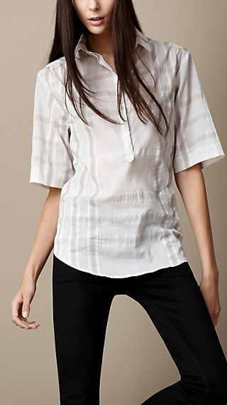 Crinkled Check Box-Fit Shirt