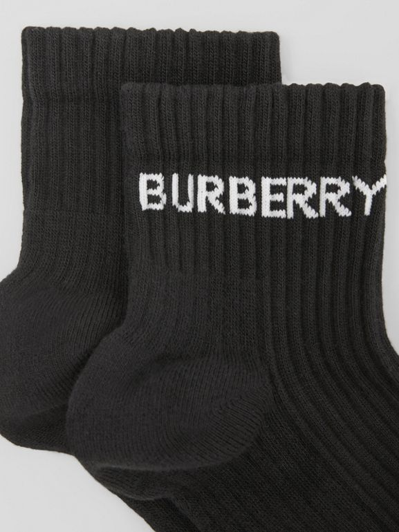 Logo Intarsia Technical Stretch Cotton Ankle Socks in Black | Burberry - cell image 1