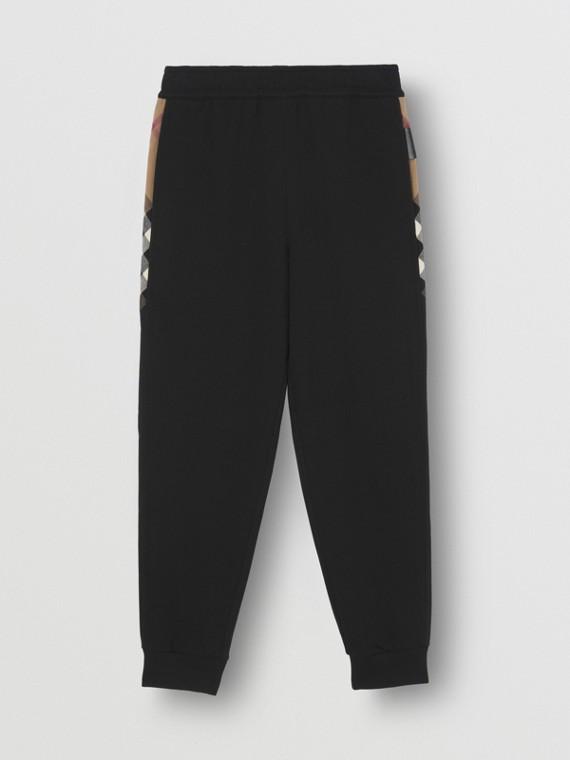 Pantaloni da jogging in cotone con inserti con motivo tartan (Nero)