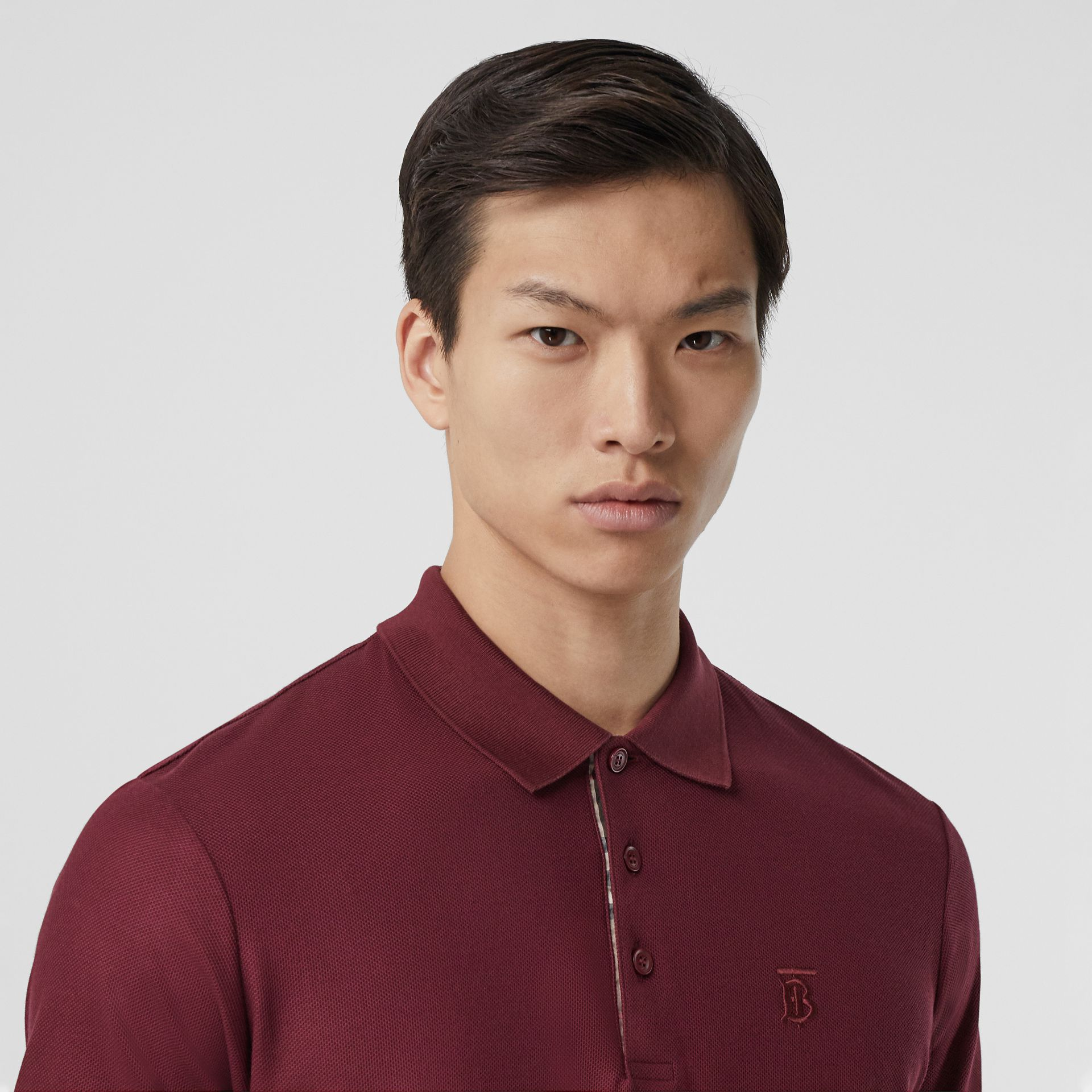 Monogram Motif Cotton Piqué Polo Shirt in Garnet - Men | Burberry - gallery image 1