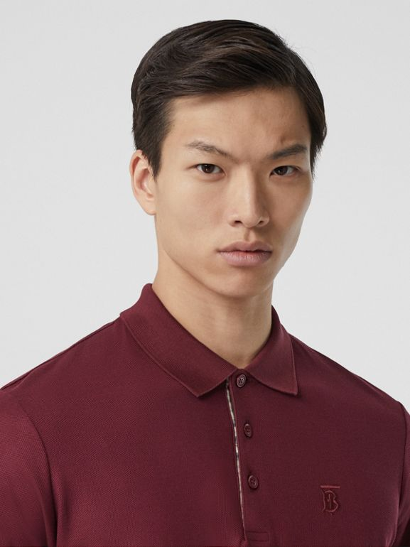 Monogram Motif Cotton Piqué Polo Shirt in Garnet - Men | Burberry - cell image 1