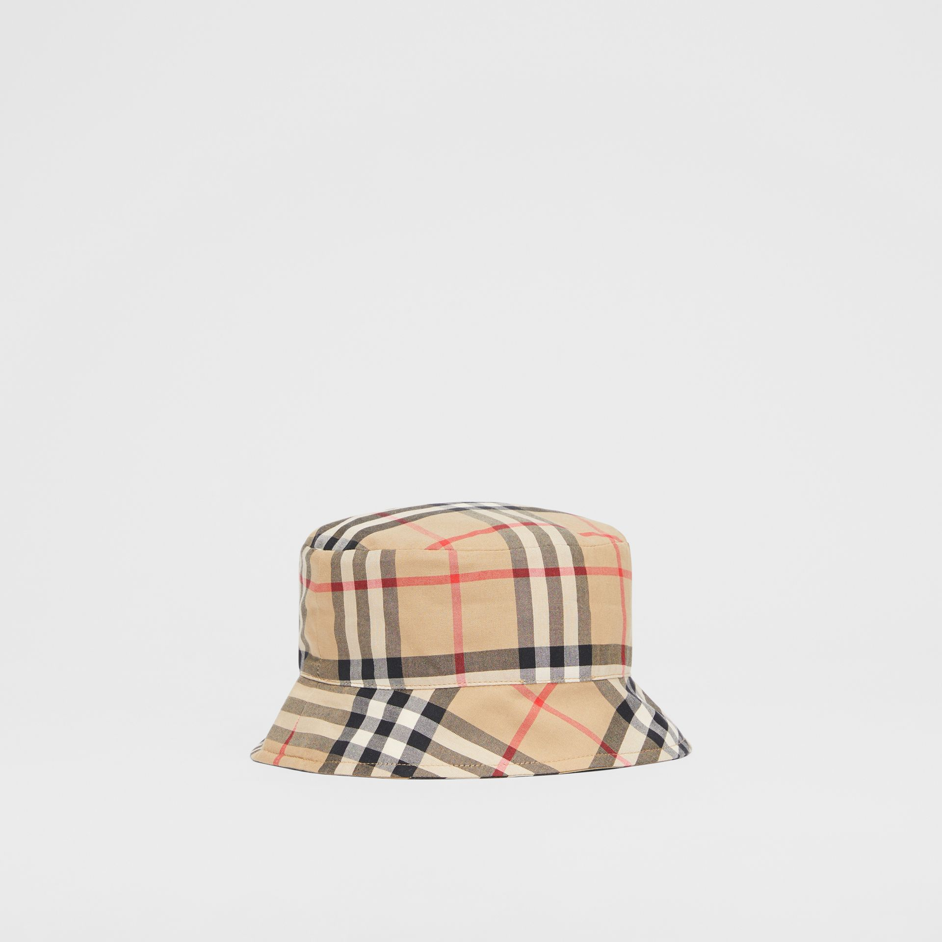 Reversible Vintage Check and Icon Stripe Bucket Hat in Archive Beige - Children | Burberry United Kingdom - gallery image 2