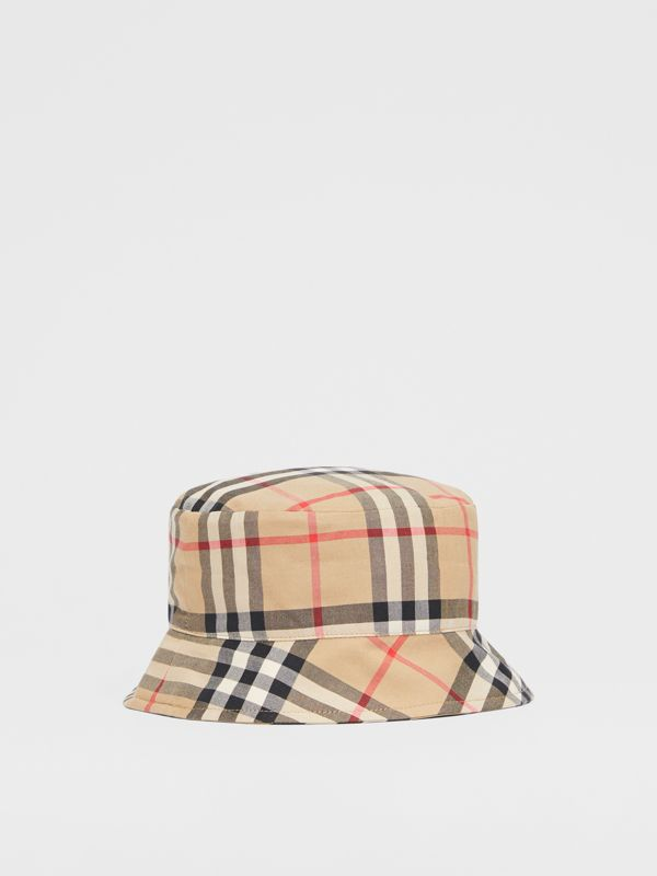 Reversible Vintage Check and Icon Stripe Bucket Hat in Archive Beige - Children | Burberry United Kingdom - cell image 2