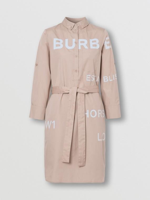 Horseferry Print Cotton Tie-waist Shirt Dress in Soft Fawn