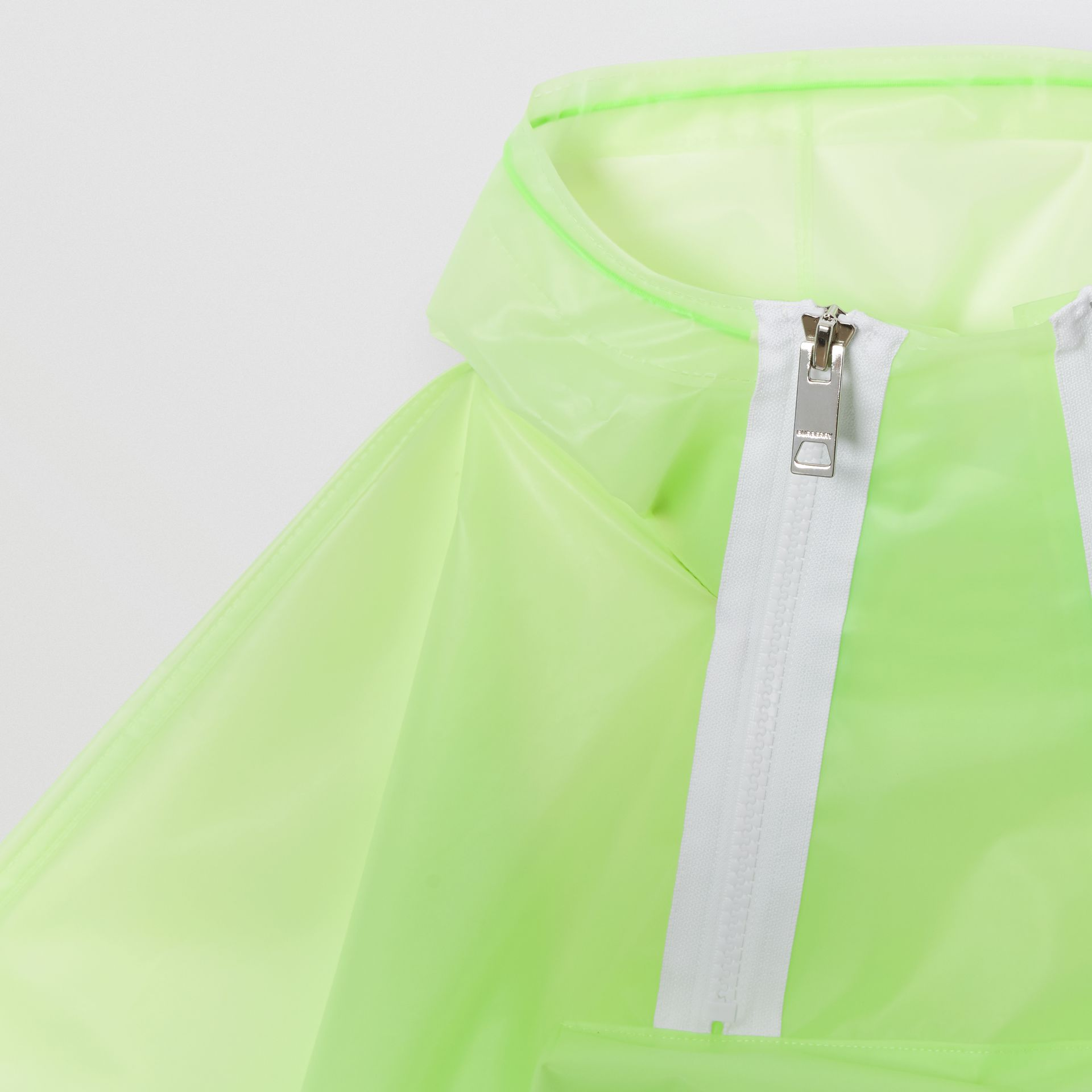 Logo Print Showerproof Hooded Poncho in Pistachio   Burberry - gallery image 5