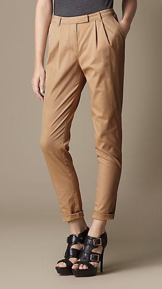 Pleat Detail Stretch Cotton Trousers