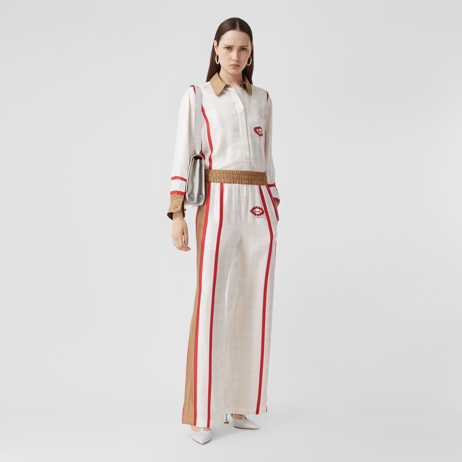 Archive Scarf Print Silk Wide-leg Trousers in Honey - Women | Burberry United Kingdom - gallery image 0