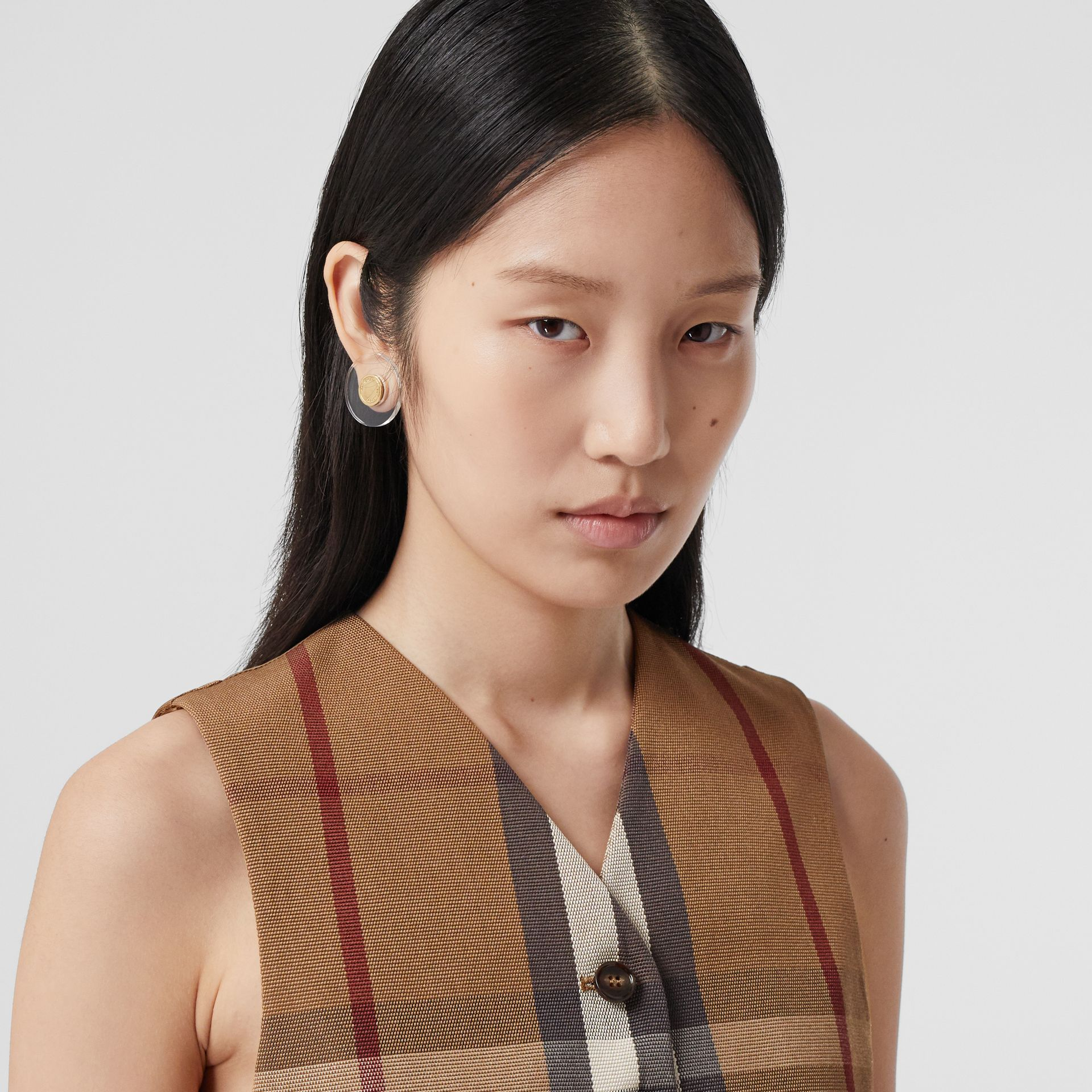 Check Technical Cotton Cropped Waistcoat in Birch Brown - Women | Burberry - gallery image 1