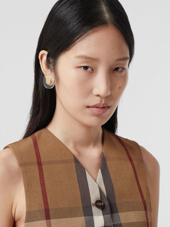 Check Technical Cotton Cropped Waistcoat in Birch Brown - Women | Burberry Australia - cell image 1