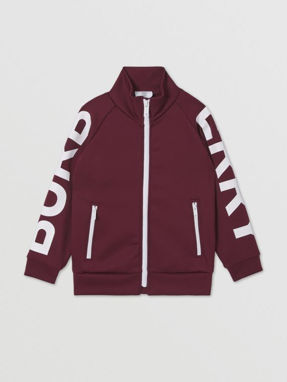 Logo Print Stretch Jersey Track Top in Oxblood