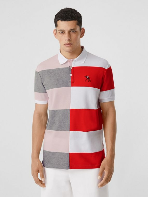 Deer Motif Colour Block Cotton Oversized Polo Shirt in Alabaster Pink
