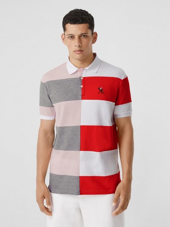 Deer Motif Colour Block Oversized Polo Shirt – Online Exclusive in Alabaster Pink