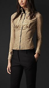 Oak Leaf Print High Collar Shirt