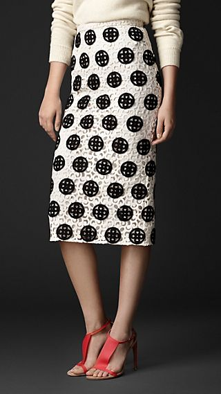 Dotted Macramé Lace Pencil Skirt