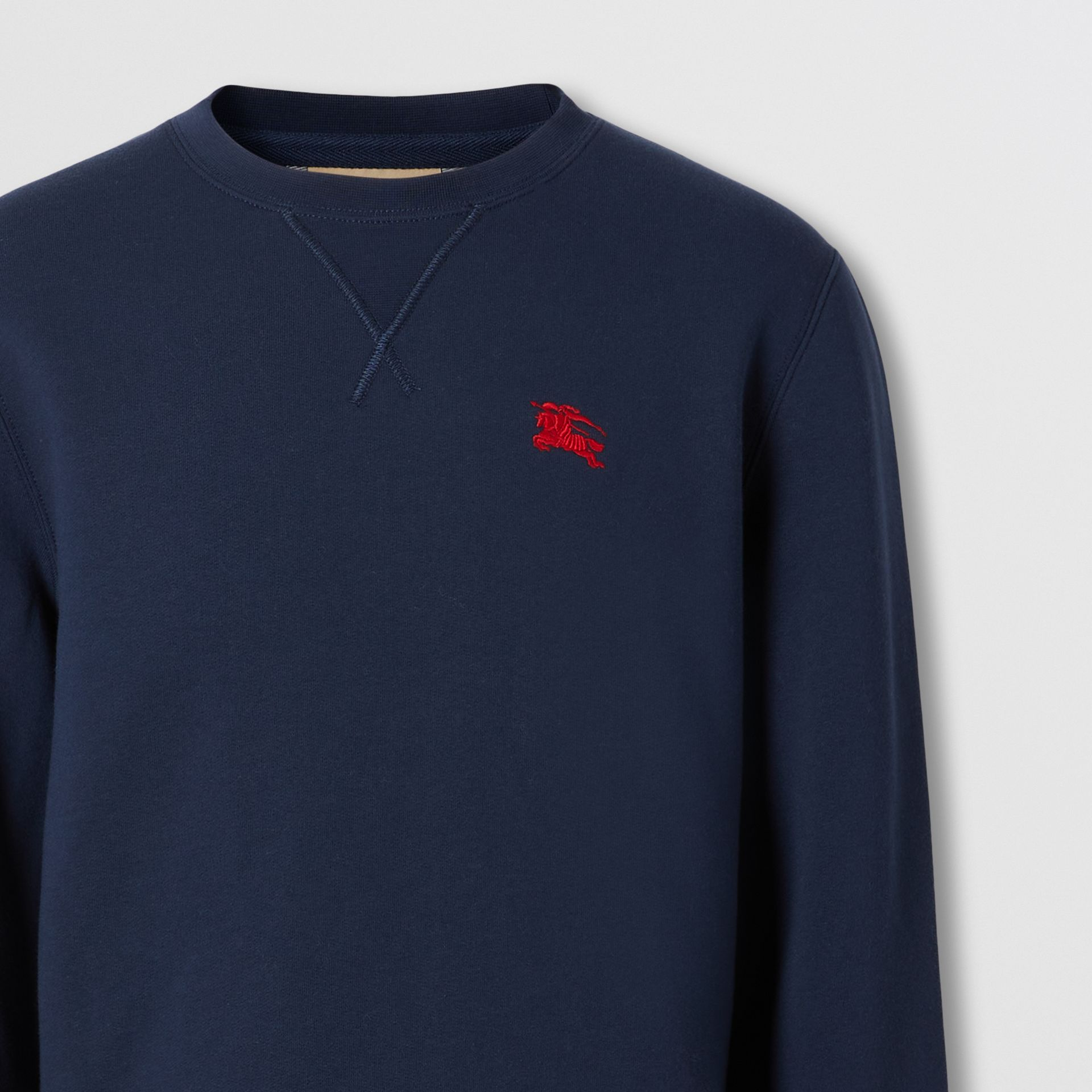 Embroidered EKD Technical Cotton Sweatshirt in Navy - Men | Burberry - gallery image 1