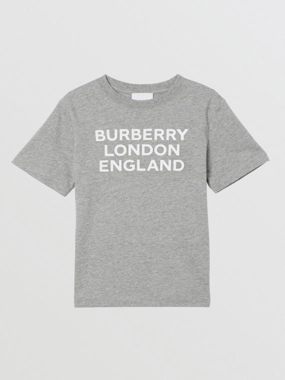 Logo Print Cotton T-shirt in Grey Melange