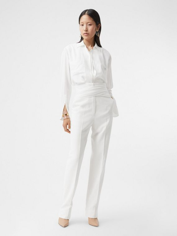 Sash Detail Technical Wool Tailored Trousers in Optic White