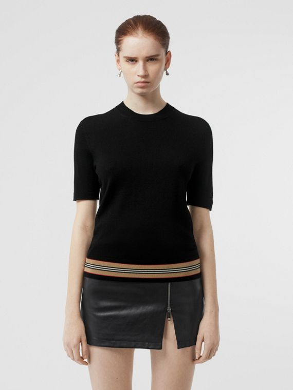 Short-sleeve Icon Stripe Detail Merino Wool Top in Black