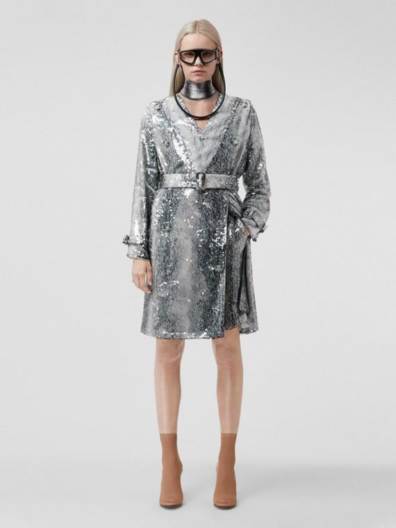 Animal Print Trim Sheer Turtleneck Bodysuit in Charcoal Grey