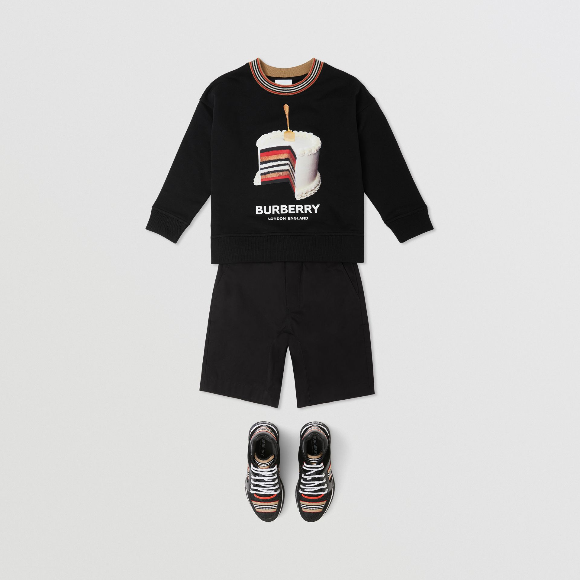 Cake Print Cotton Sweatshirt in Black | Burberry - gallery image 3