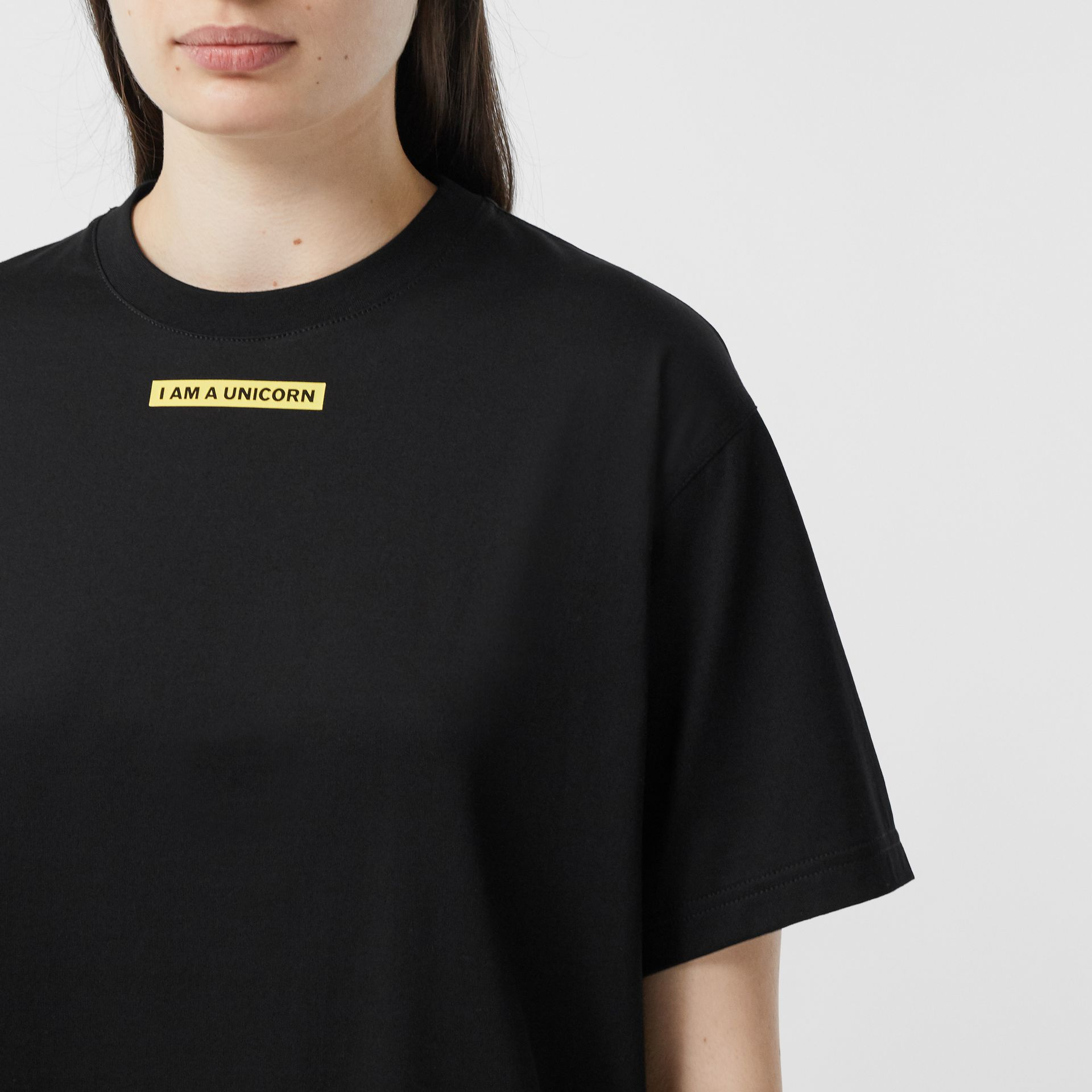 Slogan Print Oversized T-shirt – Online Exclusive in Black - Women | Burberry - gallery image 6