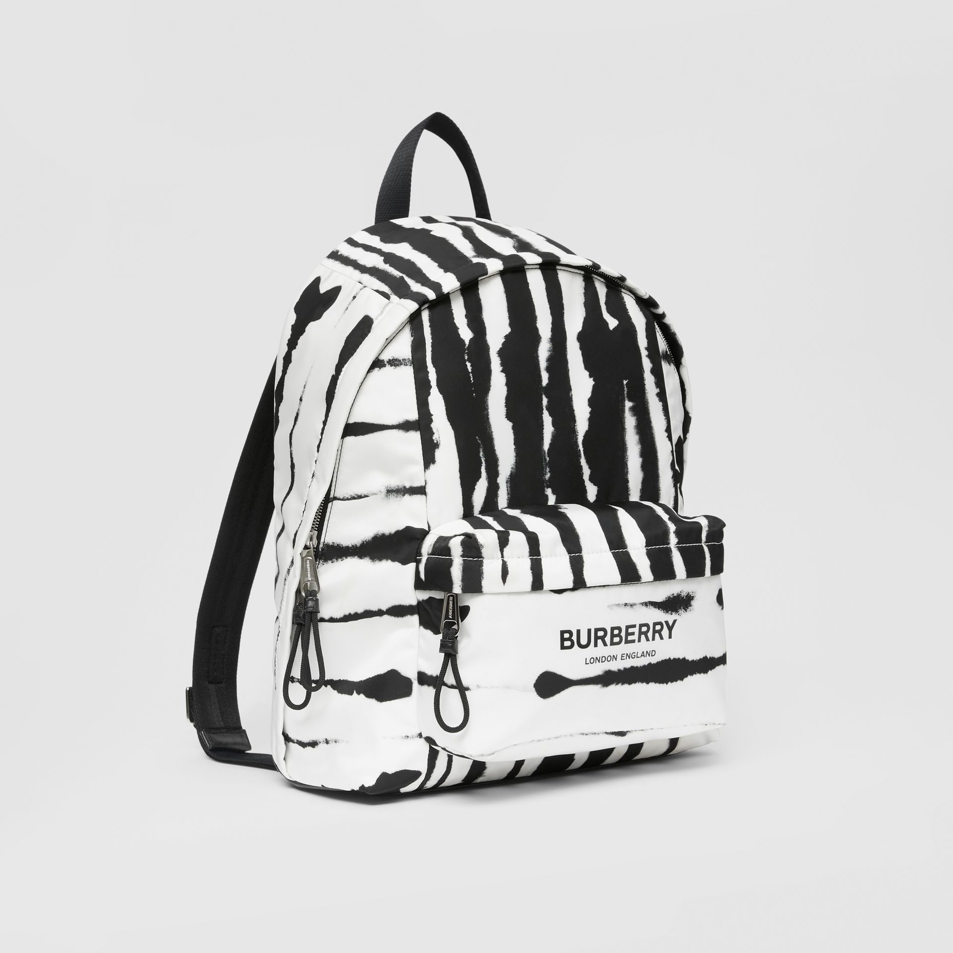 Watercolour Print ECONYL® Backpack in Black/white | Burberry - gallery image 6