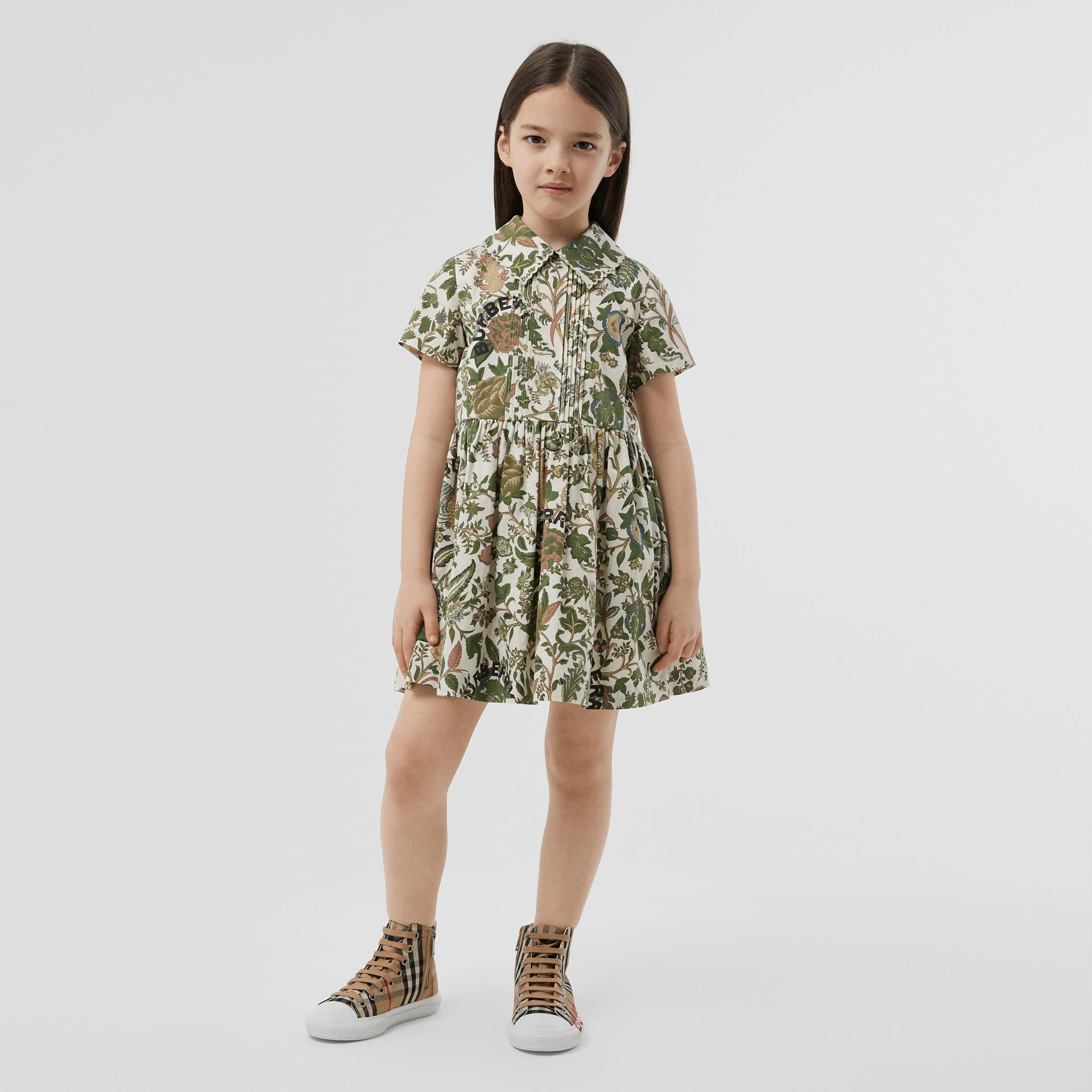 Botanical Print Cotton Dress in Olive | Burberry Hong Kong S.A.R - gallery image 2