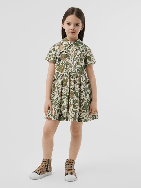 Botanical Print Cotton Dress in Olive | Burberry Hong Kong S.A.R - cell image 2